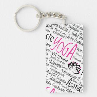 Namaste Yoga Positions Asana Poses Sanskrit Names Double-Sided Rectangular Acrylic Keychain