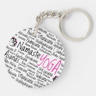 Namaste Yoga Positions Asana Poses Sanskrit Names Double-Sided Round Acrylic Keychain