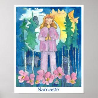 Namaste Yoga Wolf Owl Bear Wildlife Watercolor Poster
