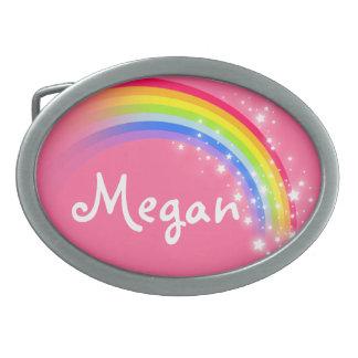 Name 5 letters rainbow purple oval belt buckle