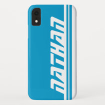 Name 6 letter blue & white stripe sports ipod case