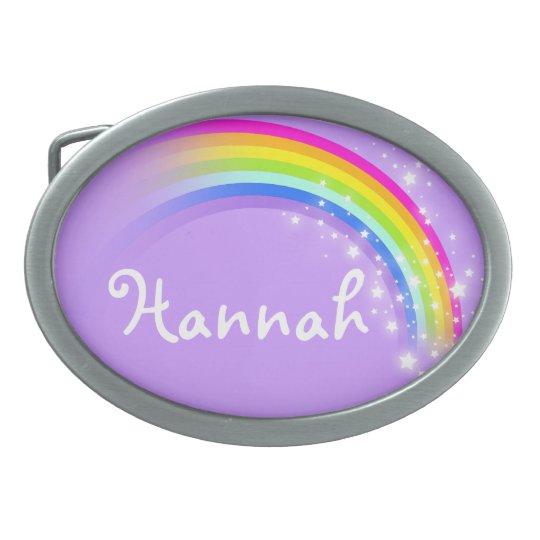 Name 6 letter rainbow pale purple oval belt buckle