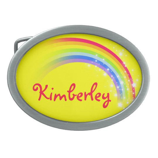 Name 9 letters rainbow yellow oval belt buckle