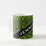 [ Thumbnail: Name + Abstract Green Liquid-Like Splotch Pattern Coffee Mug ]