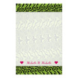 [ Thumbnail: Name + Abstract Green Liquid-Like Splotch Pattern Stationery ]
