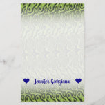 [ Thumbnail: Name; Abstract Green Liquid-Like Splotch Pattern Stationery ]