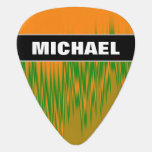 [ Thumbnail: Name + Abstract Orange, Green, Brown Wave Pattern Guitar Pick ]