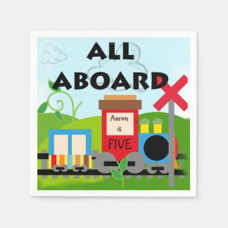 Name Age All Aboard Train Birthday Paper Napkins