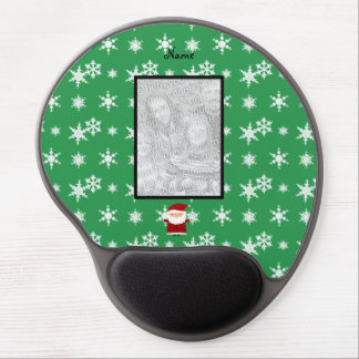 Name and add your own photo santa green snowflakes gel mouse pad