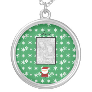 Name and add your own photo santa green snowflakes pendants