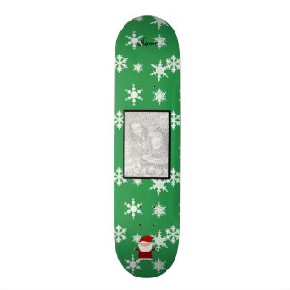 Name and add your own photo santa green snowflakes custom skateboard