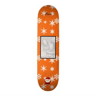 Name and add your own photo santa orange snowflake custom skate board