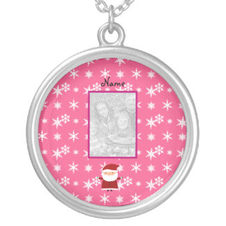 Name and add your own photo santa pink snowflakes custom jewelry