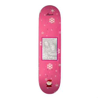 Name and add your own photo santa pink snowflakes skateboard deck