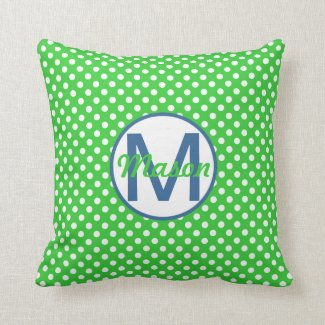 Name and Initial, Polka Dots with Blue and Green