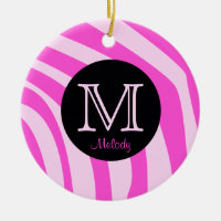 Name and Initial Zebra Print Christmas Ornaments