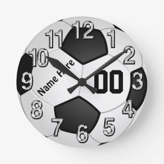 NAME and Jersey NUMBER Soccer Wall Clocks