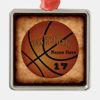 Name and Jersey Number Vintage Basketball Ornament