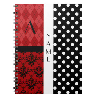 Name and monogram black and white polka dots note book