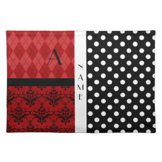 Name and monogram black and white polka dots placemat