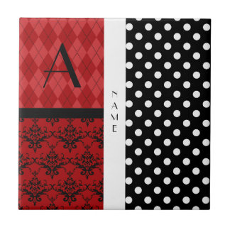 Name and monogram black and white polka dots small square tile