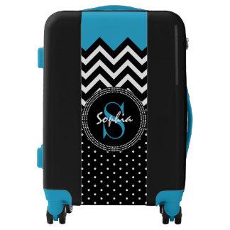 Name and Monogram Chevron Fashion Chic Luggage