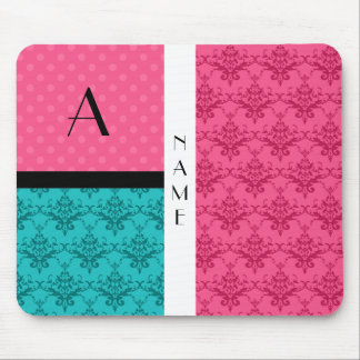 Name and monogram pink turquoise damask mouse pad