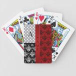 Name and monogram red damask polka dots card decks