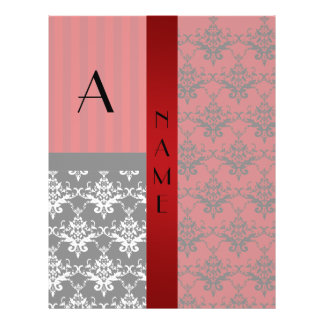 Name and monogram red damask stripes personalized flyer