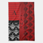 Name and monogram red damask stripes hand towel