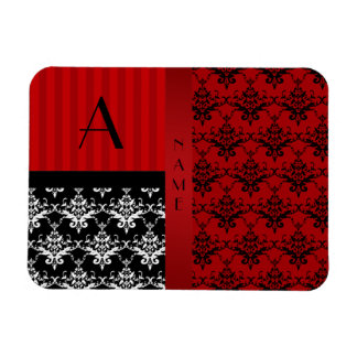 Name and monogram red damask stripes rectangle magnet