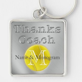 NAME and MONOGRAM Thanks Coach Tennis Keychain