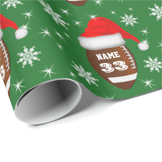 Name and Number Football Christmas Wrapping Paper
