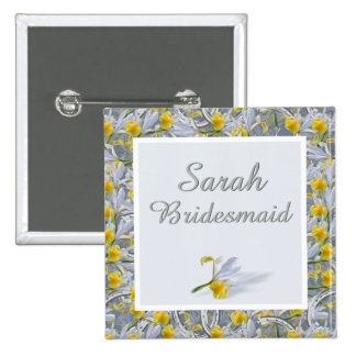 Name and role wedding badge button