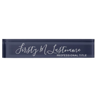 Name and Title Calligraphy - CAN EDIT navy COLOR Desk Name Plate