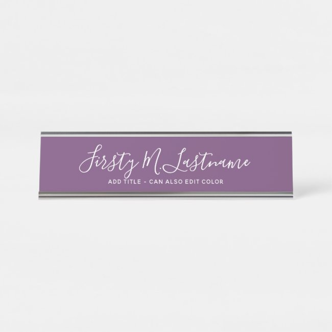 Name and Title Calligraphy - CAN EDIT purple COLOR Desk Name Plate
