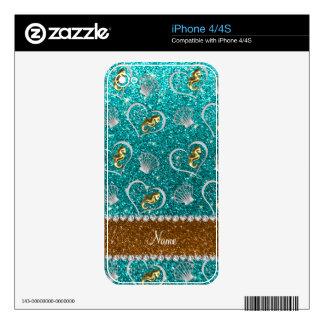Name aqua glitter gold seahorses silver seashells iPhone 4S decal