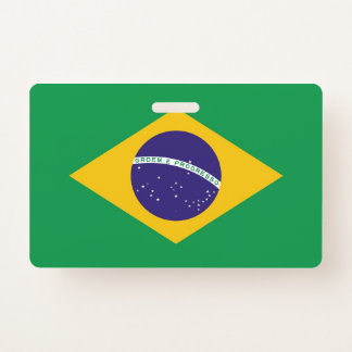 Name Badge with flag of Brazil