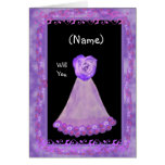 NAME Be My Bridesmaid with PURPLE Gown &  Rose Cards