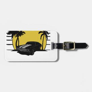 (Name) Beach Sunset Surf Vintage Car Customizable Bag Tag