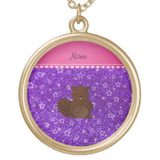 Name beaver indigo purple glitter stars round pendant necklace