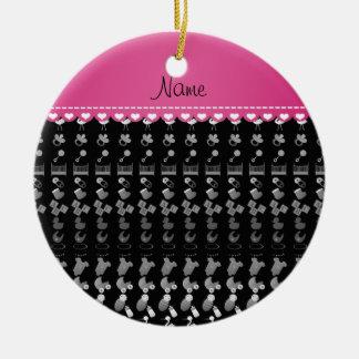 Name black baby bottle rattle pacifier stork ceramic ornament
