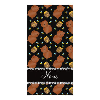 Name black bears honeypots bees pattern photo card