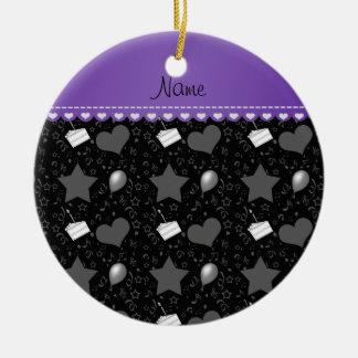 Name black birthday cake balloons hearts stars ceramic ornament
