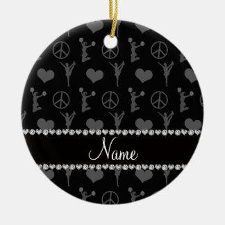Name black cheerleading hearts peace sign ceramic ornament