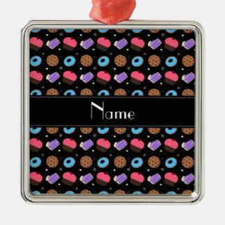 Name black cupcake donuts cake cookies square metal christmas ornament