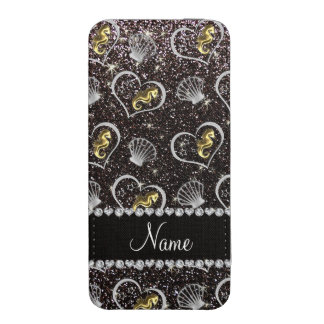 Name black glitter gold seahorses silver seashells iPhone 5 pouch