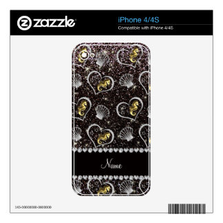 Name black glitter gold seahorses silver seashells decals for the iPhone 4S