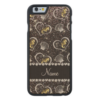 Name black glitter gold seahorses silver seashells carved® maple iPhone 6 slim case