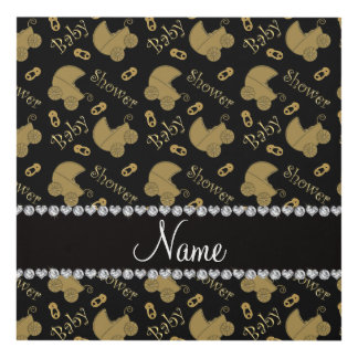 Name black gold baby carriages pins baby shower panel wall art